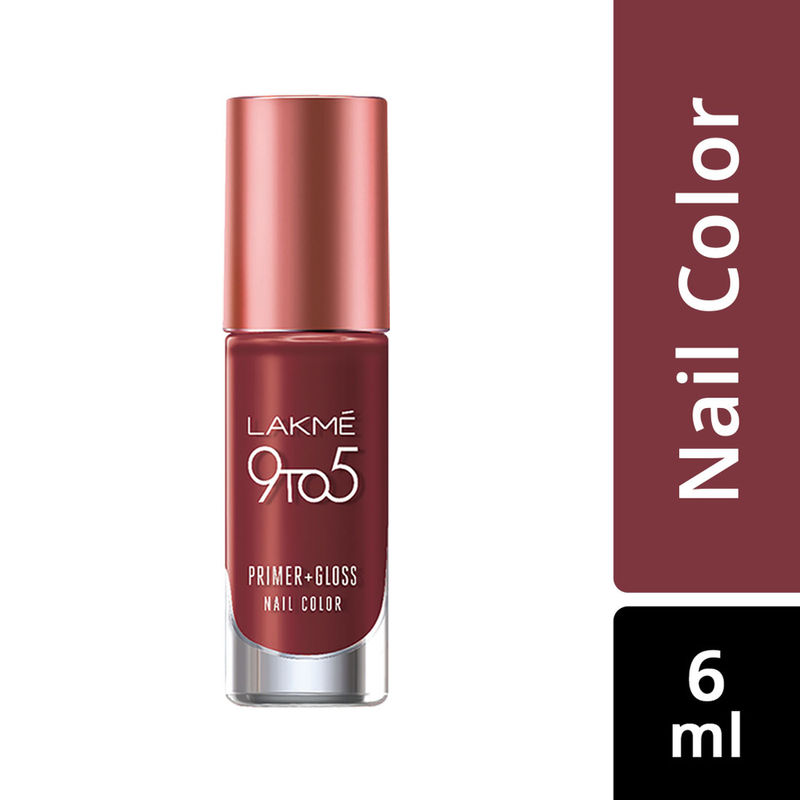 Lakme 9 to 5 Primer + Gloss Nail Color - Red Alert
