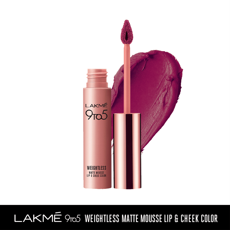 Lakme 9 to 5 Weightless Matte Mousse Lip & Cheek Color - Magenta Kiss