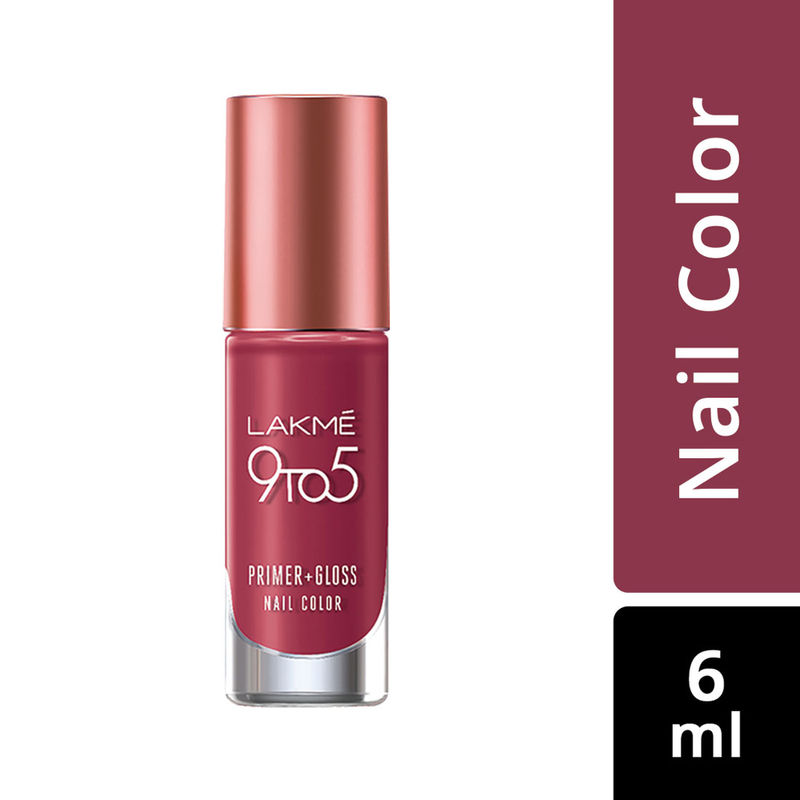 Lakme 9 to 5 Primer + Gloss Nail Color - Berry Business