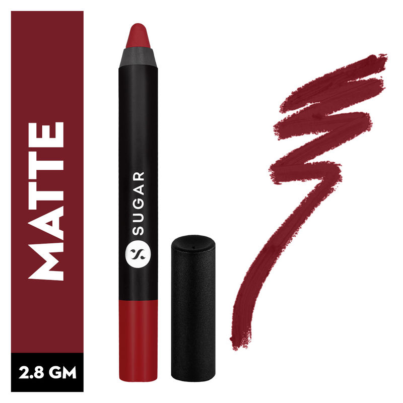 SUGAR Matte As Hell Crayon Lipstick With Free Sharpener - 10 Cherry Darling