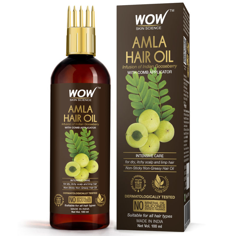 Wow Skin Science Amla Hair Oil with Comb Applicator