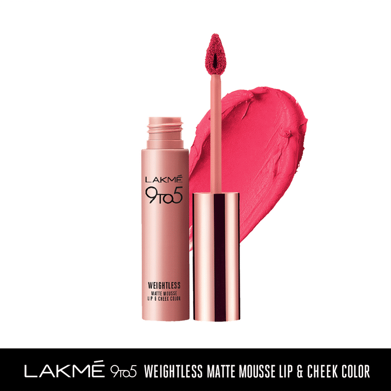 Lakme 9 to 5 Weightless Matte Mousse Lip & Cheek Color - Scarlet Plume