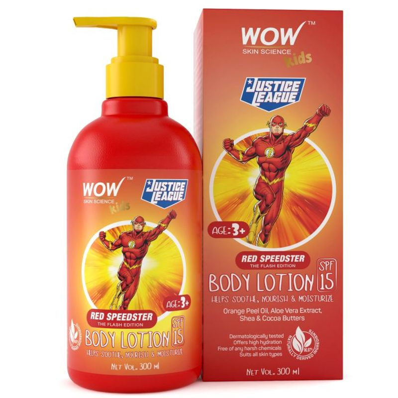 WOW Skin Science Kids Body Lotion - SPF 15 - Red Speedster Flash Edition