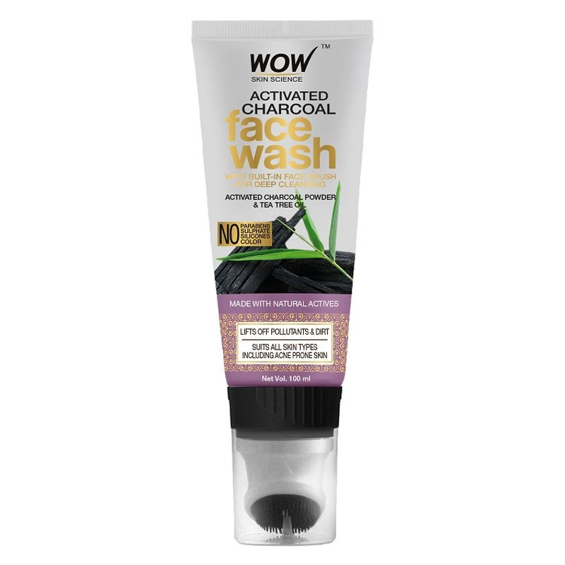 Wow Skin Science Activated Charcoal Face Wash Gel Tube With Built in Face Brush