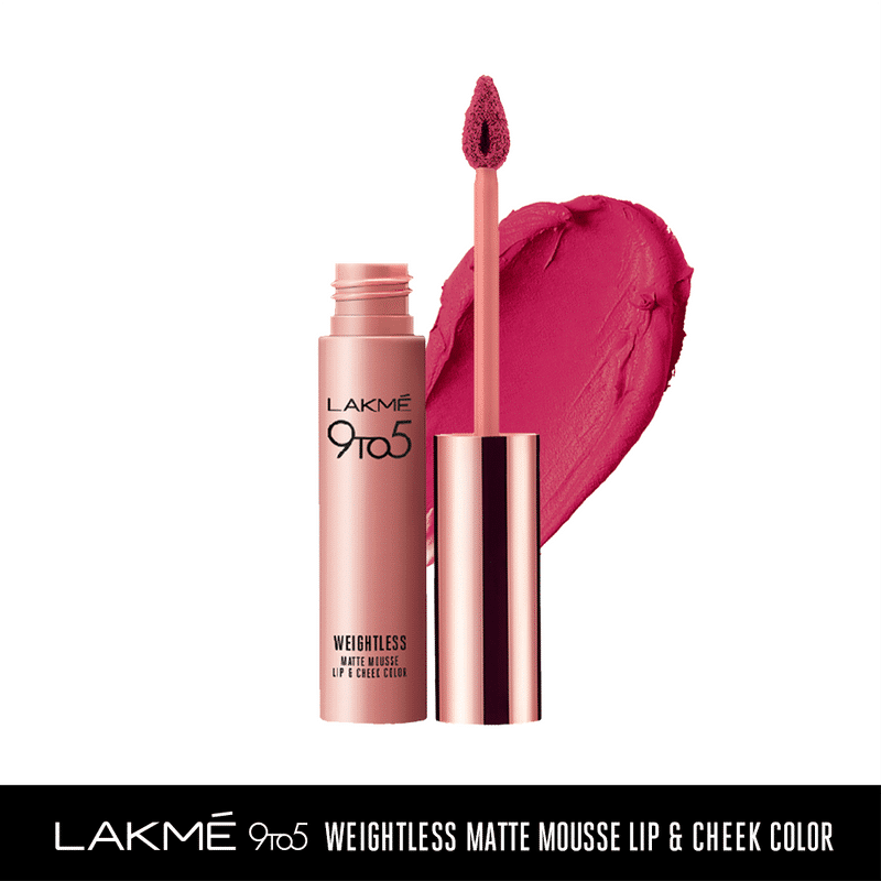 Lakme 9 to 5 Weightless Matte Mousse Lip & Cheek Color - Fuchsia Suede