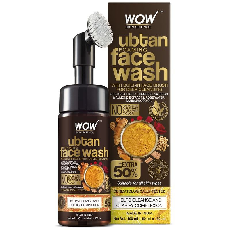 WOW Skin Science Ubtan Foaming Face Wash with Built-In Face Brush