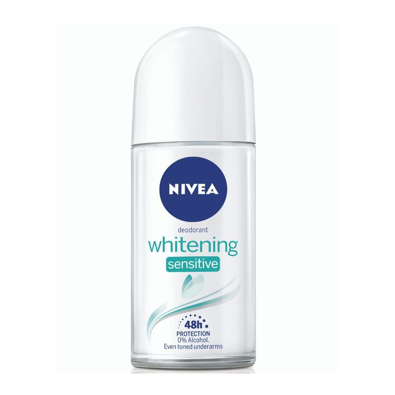 NIVEA Women Deodorant Roll On, Whitening Sensitive, for 48h Protection