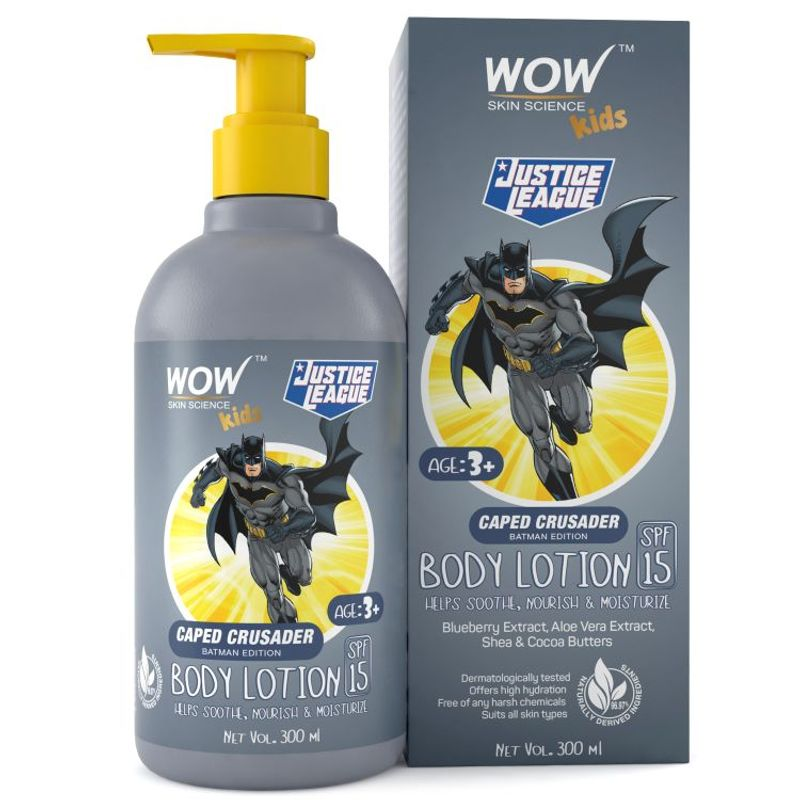 WOW Skin Science Kids Body Lotion - SPF 15 - Caped Crusader Batman Edition