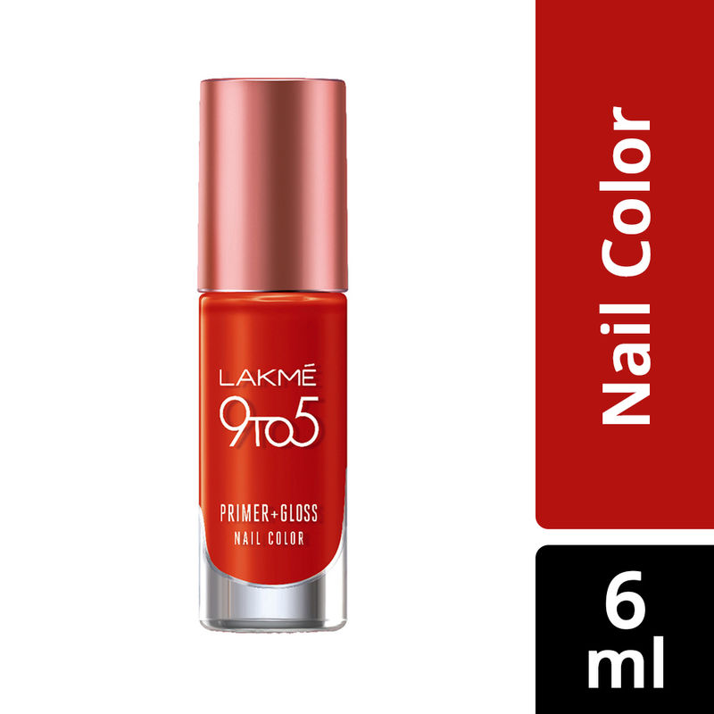 Lakme 9 to 5 Primer + Gloss Nail Colour - Cherry Red