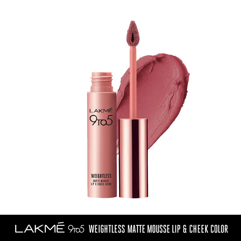 Lakme 9 to 5 Weightless Matte Mousse Lip & Cheek Color - Rose Touch