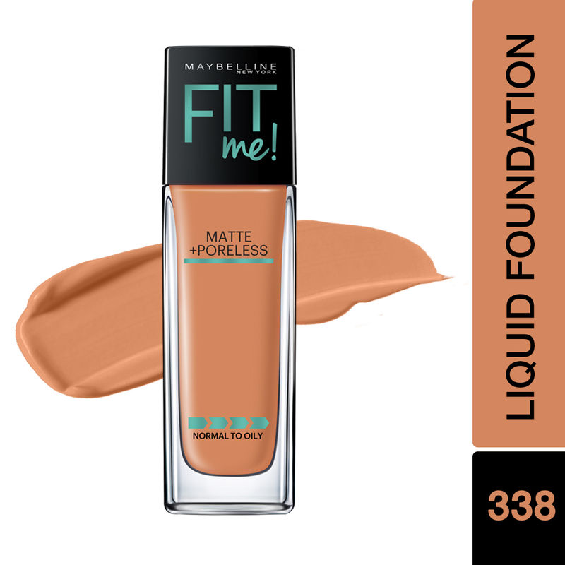 Maybelline New York Fit Me Matte+Poreless Liquid Foundation With Pump - 338 Spicy Brown