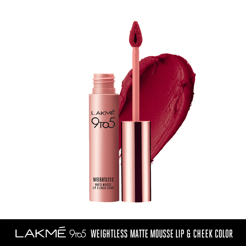 Lakme 9 to 5 Weightless Matte Mousse Lip & Cheek Color - Rosy Plum