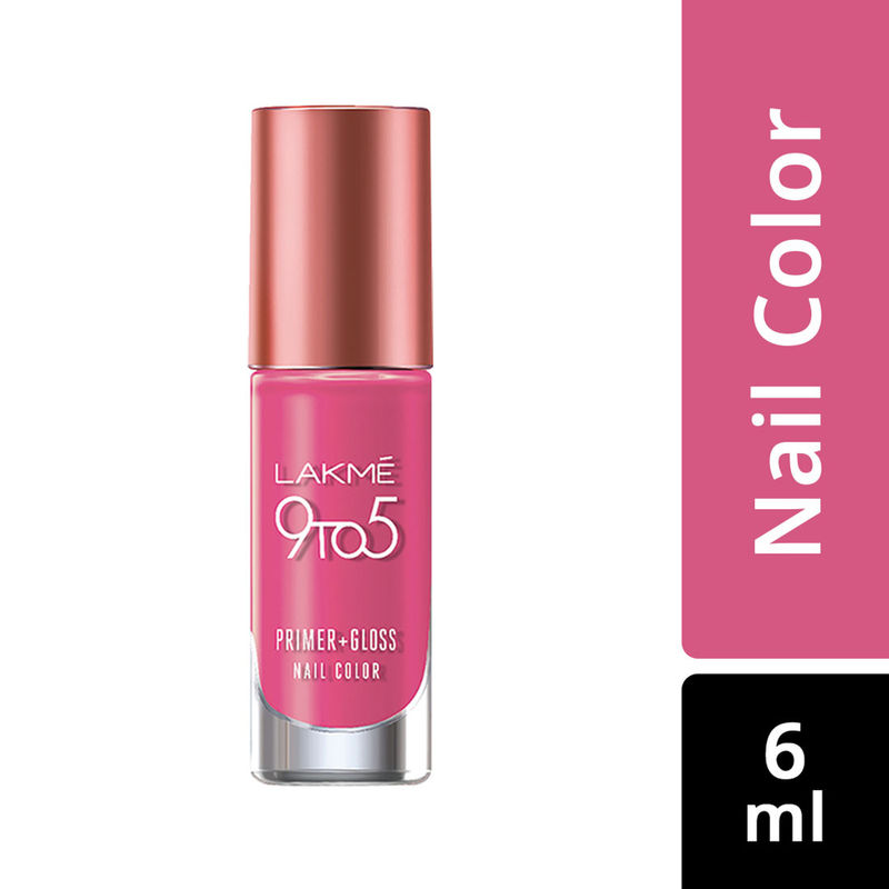 Lakme 9 to 5 Primer + Gloss Nail Color - Pink Pace