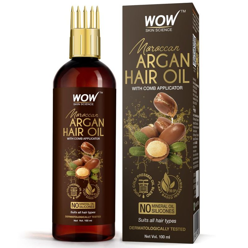 WOW Skin Science Moroccan Argan Hair Oil - WITH COMB APPLICATOR - Cold Pressed