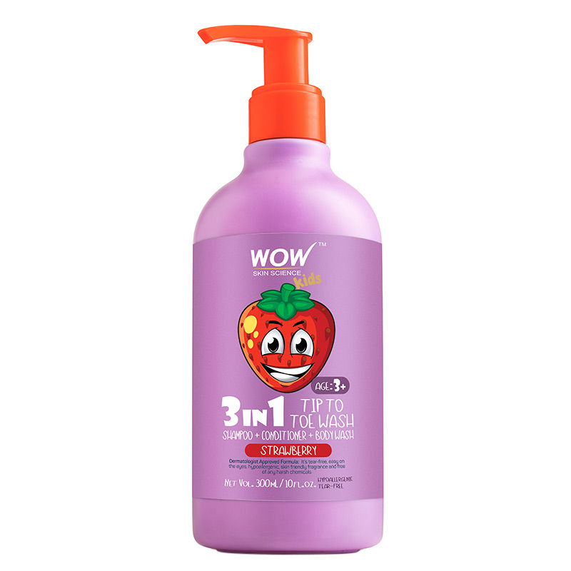 WOW Skin Science Kids Strawberry 3 in 1 Tip to Toe Wash - Shampoo + Conditioner + Body wash
