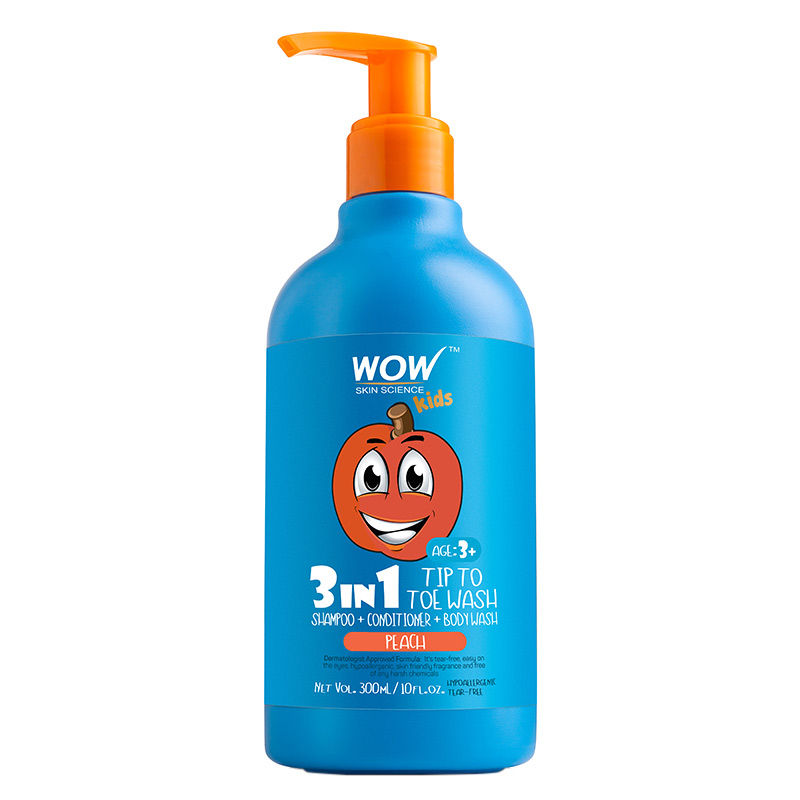 WOW Skin Science Kids Peach 3 in 1 Tip to Toe Wash - Shampoo+Conditioner + Body wash