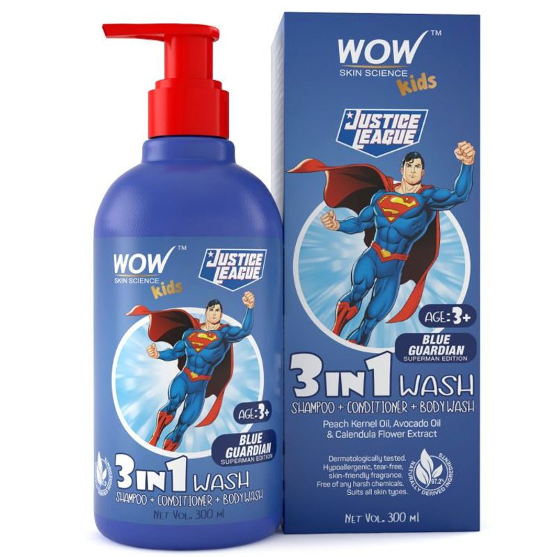 WOW Skin Science Kids 3 in 1 Wash (Blue Guardian Superman Edition)
