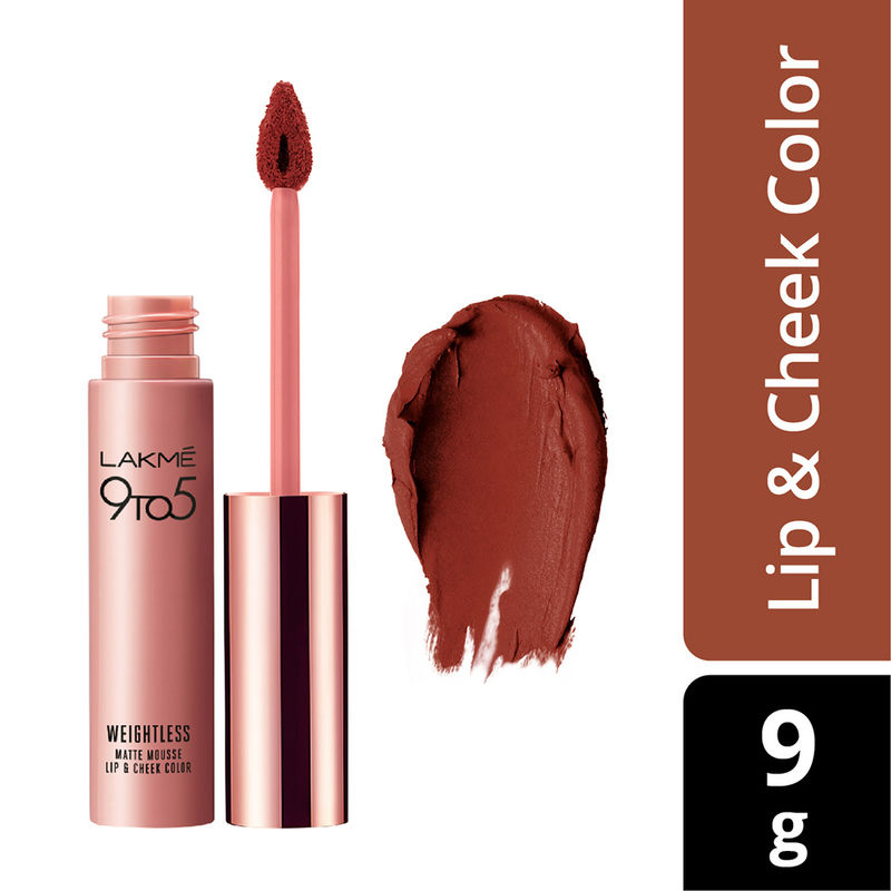 Lakme 9 to 5 Weightless Matte Mousse Lip & Cheek Color - Brick Bloom