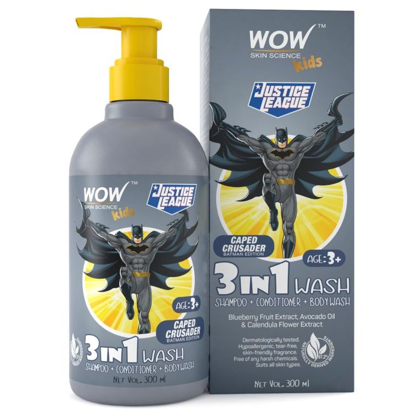 WOW Skin Science Kids 3 in 1 Wash (Caped Crusader Batman Edition)