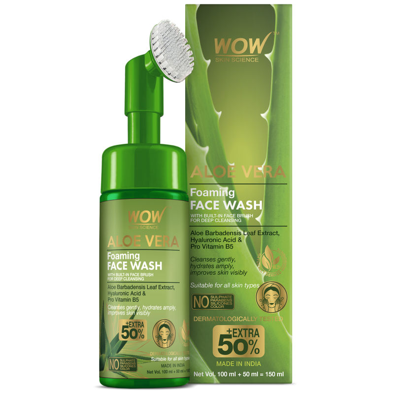 WOW Skin Science Aloe Vera Foaming Face Wash with Built-In Face Brush