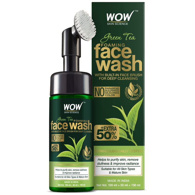 WOW Skin Science Green Tea Foaming Face Wash With Built-In Face Brush