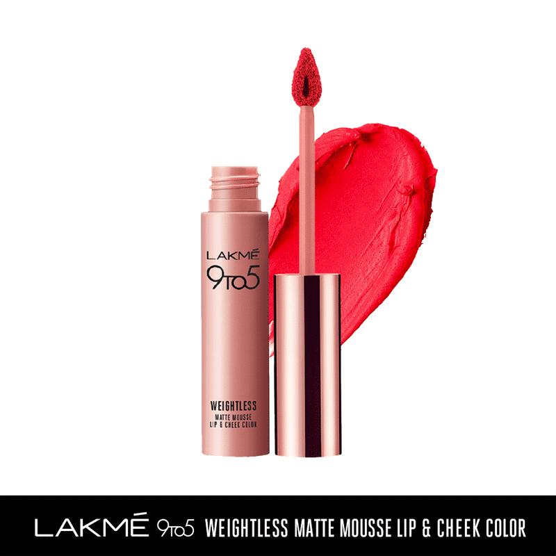 Lakme 9 to 5 Weightless Matte Mousse Lip & Cheek Color - Coral Cushion