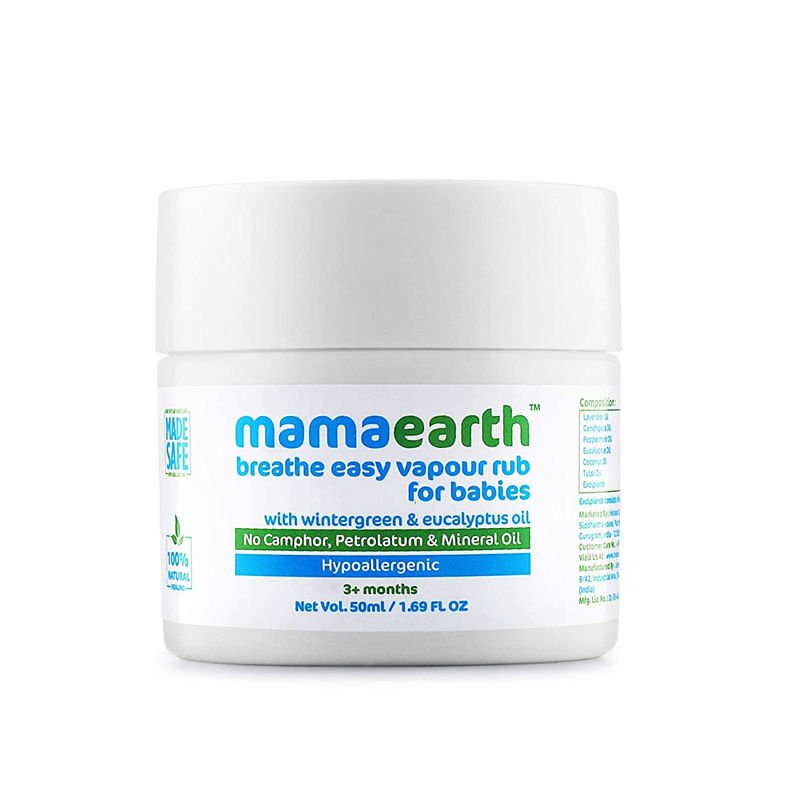Mamaearth Natural Breathe Easy Vapour Rub Balm, with Wintergreen, Eucalyptus and Tulsi