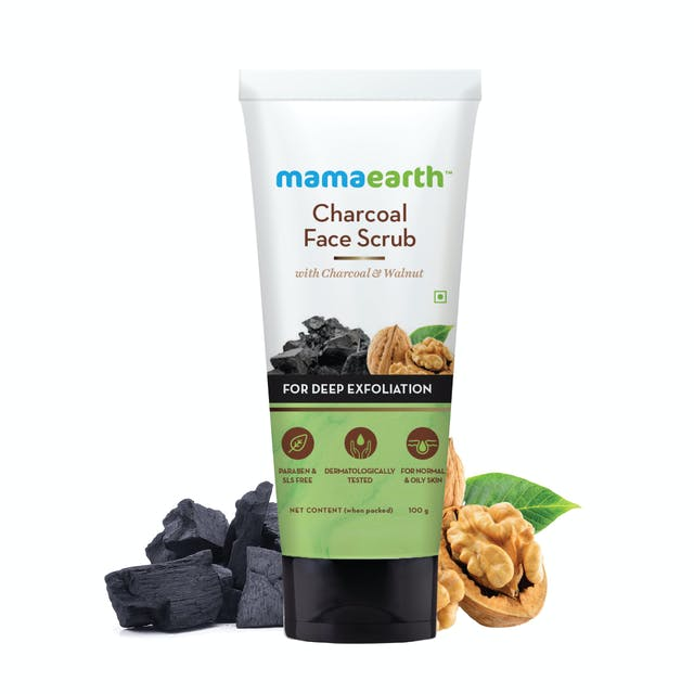 Charcoal Face Scrub With Charcoal & Walnut For Charcoal Exfoliation