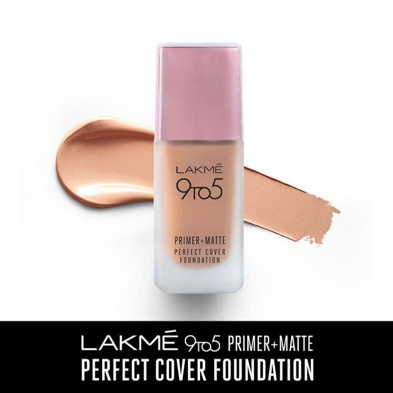 Lakme 9 To 5 Primer + Matte Perfect Cover Foundation - C140 Cool Rose