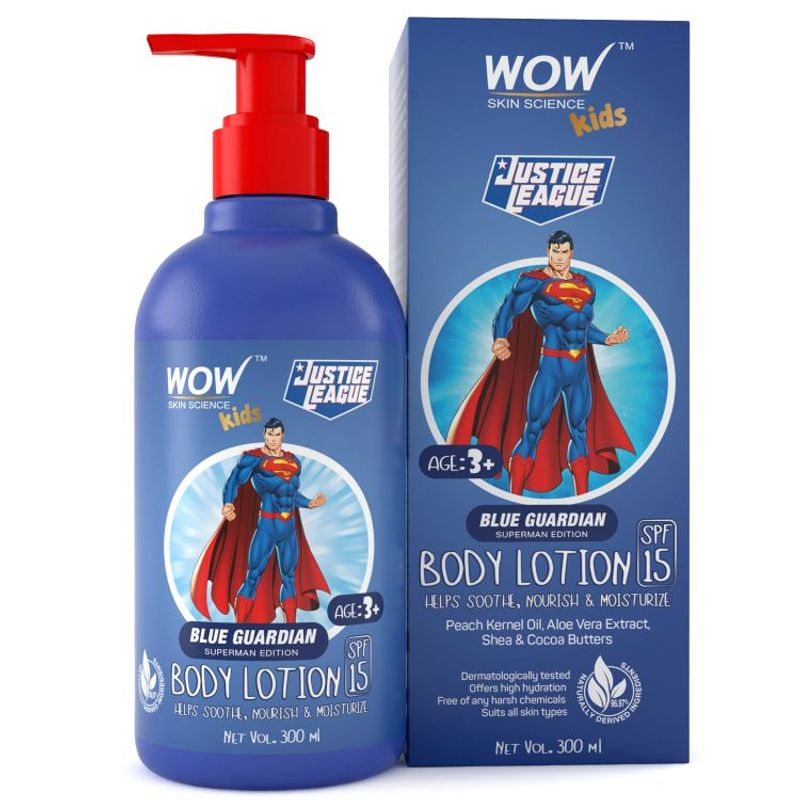 WOW Skin Science Kids Body Lotion - SPF 15 - Blue Guardian Superman Edition