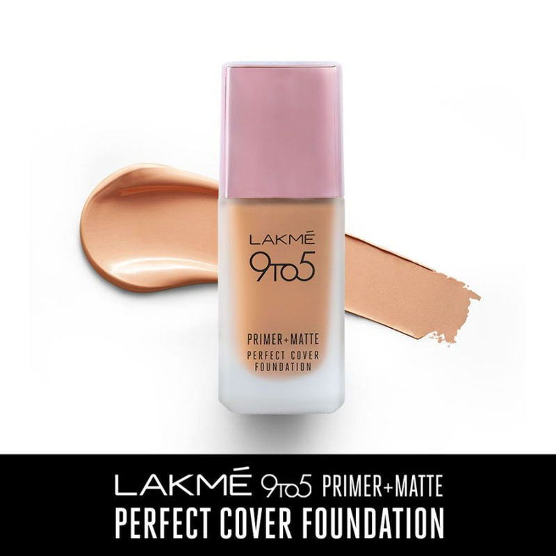 Lakme 9 To 5 Primer + Matte Perfect Cover Foundation - W160 Warm Sand
