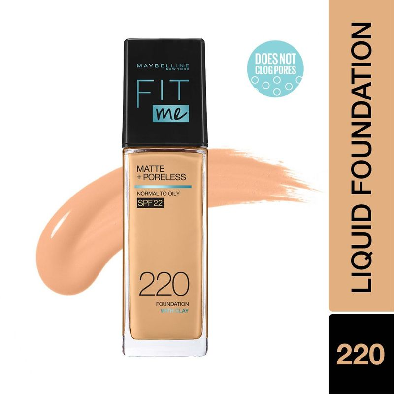 Maybelline New York Fit Me Matte+Poreless Liquid Foundation With Clay - 220 Natural Beige