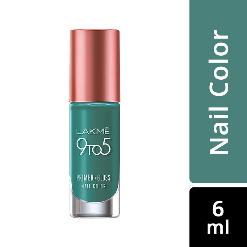 Lakme 9 to 5 Primer + Gloss Nail Color - Teal Deal